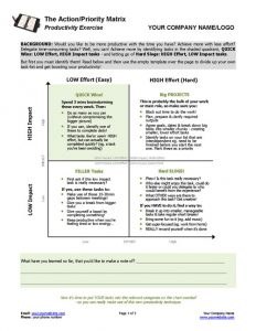 Action Priority Matrix Coaching Worksheet Page 1