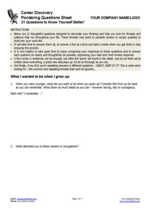 Career Questions Page 1