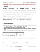 Coaching Agreement Contract Sample TEMPLATE