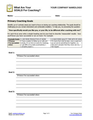 Set Coaching Goals Worksheet Page 1