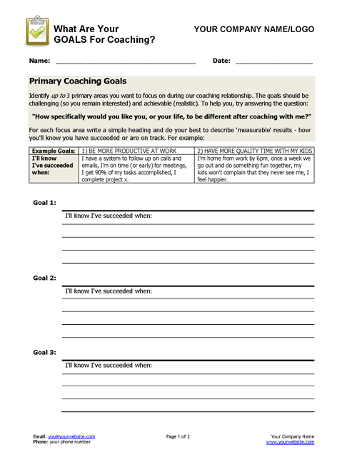 Coaching Goals Worksheet – Goals Worksheet