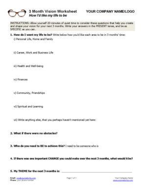 Set 3 Month Vision Coaching Worksheet