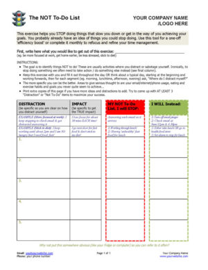 Not To Do List Coaching Exercise