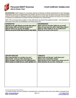 Personal SWOT Exercise Coaching Tool
