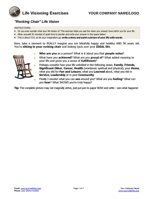 Rocking Chair And 2 Other Life Vision Exercises Coaching Tools. Rocking Chair And 2 Other Life Vision Exercises. Worksheet. Tapped Worksheet Answer Key At Mspartners.co