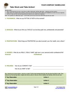 Take Stock and Take Action Worksheet
