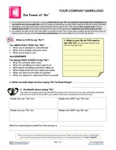 Learn to Say No Coaching Exercise Page 1