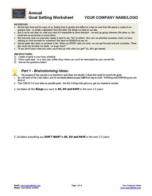 ANNUAL GoalSetting Worksheet – Life Goals Worksheet