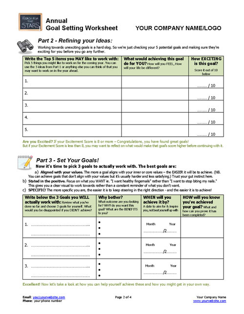 Annual Goal Setting Worksheet Coaching Tools From The