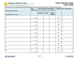 Small Business Coaching Annual Goal-Setting Template
