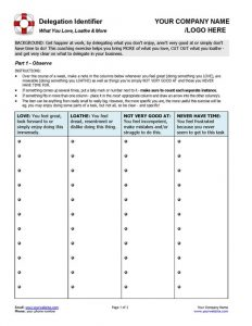 Small Business Coaching Delegation Identifier Tool Page 1