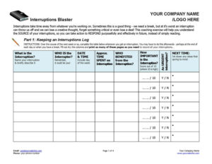 Small Business Coaching Manage Interruptions Exercise Page 1
