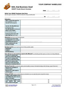 Small Business Coaching SMART Goal-Setting Template Page 1