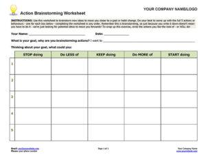 Action Brainstorming Worksheet Image