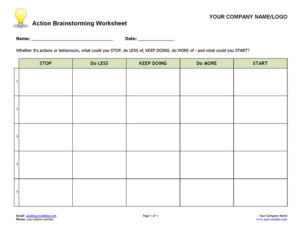 Action Brainstorming Coaching Form and Worksheet