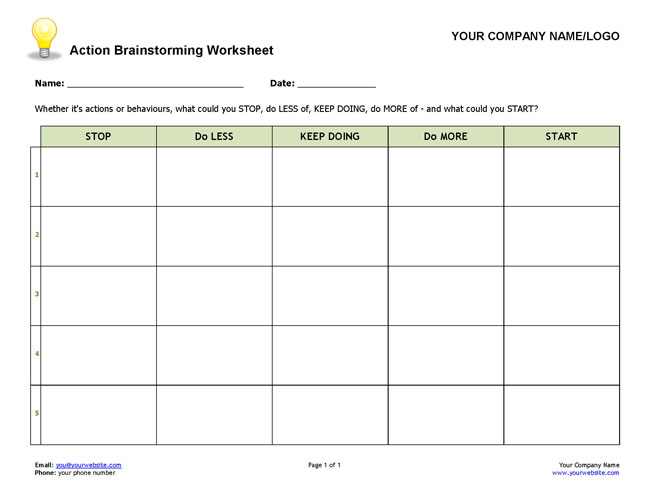 Action Brainstorming Worksheet – Brainstorm Worksheet