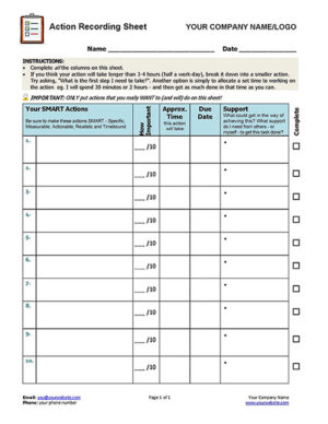 Free Action Recording Sheet for Clients & Coaches