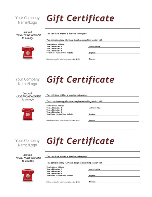 Complimentary Session Vouchers TEMPLATE Coaching Tools from The