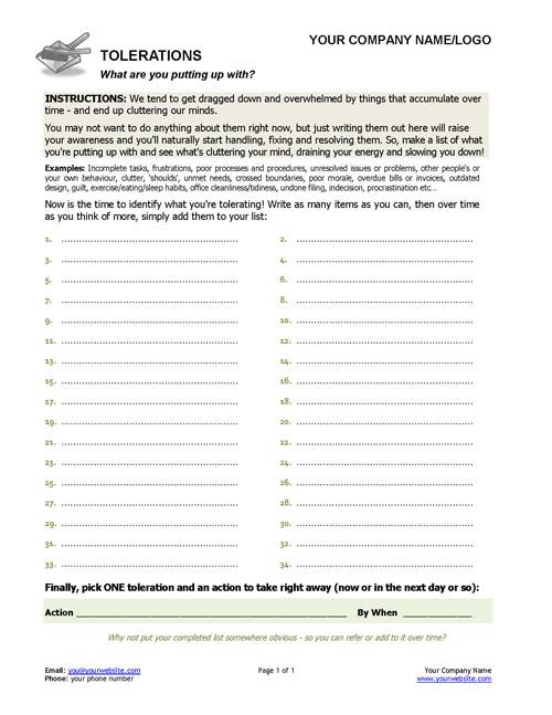 Identify Tolerations Free Coaching Exercise