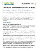 Renew You Love Your Life Coaching Marketing Copy Document