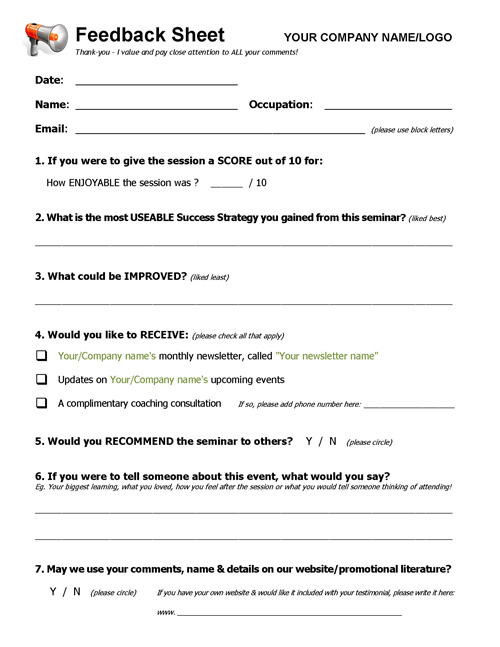Marvelous Workshop Event Seminar Feedback Form. Click To Expand Nice Design