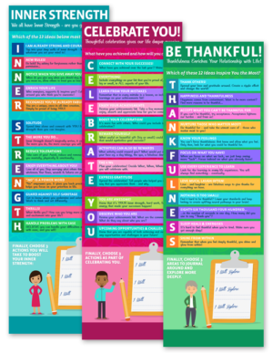 3 Infographics for Coaches on Inner Strength, Be Thankful! and Celebrate You!