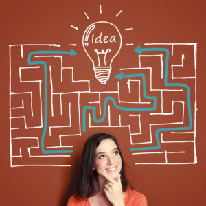 Maze Metaphor - woman has idea