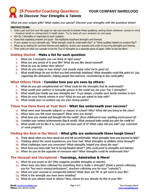 25 Powerful Questions to Identify Strengths