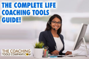 Life Coaching Tools Guide with Smiling Coach at Desk