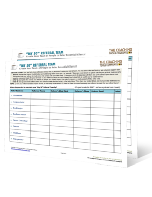 Free Coaching Tool to Create Your Referral Team - all pages standing up