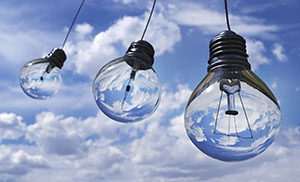 Lightbulbs in sky