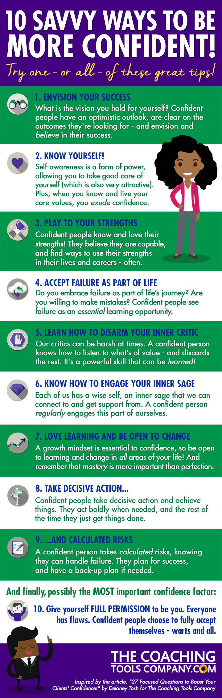 Stripey Confidence Infographic - with 10 Ways to be more Confident