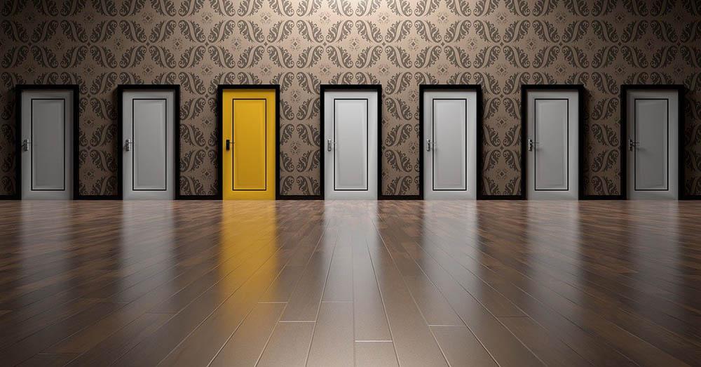 One Yellow Door in a series of doors for Goal Setting Tips
