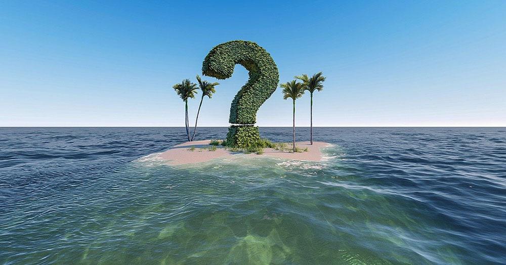 Why - question mark on island